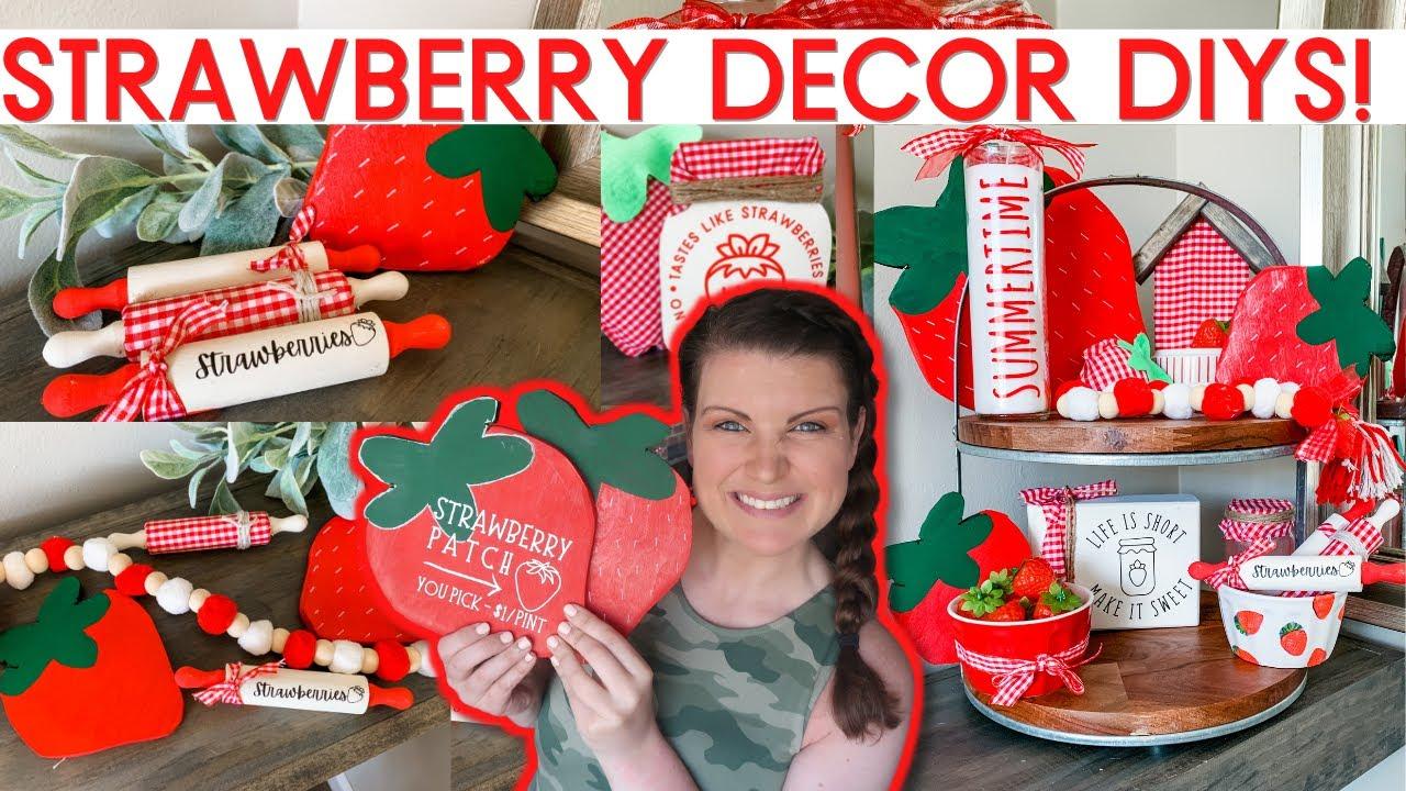 Amazing Strawberry DIY Decor 🍓 Dollar Tree Summer Decor + fabric, felt & wood strawberries