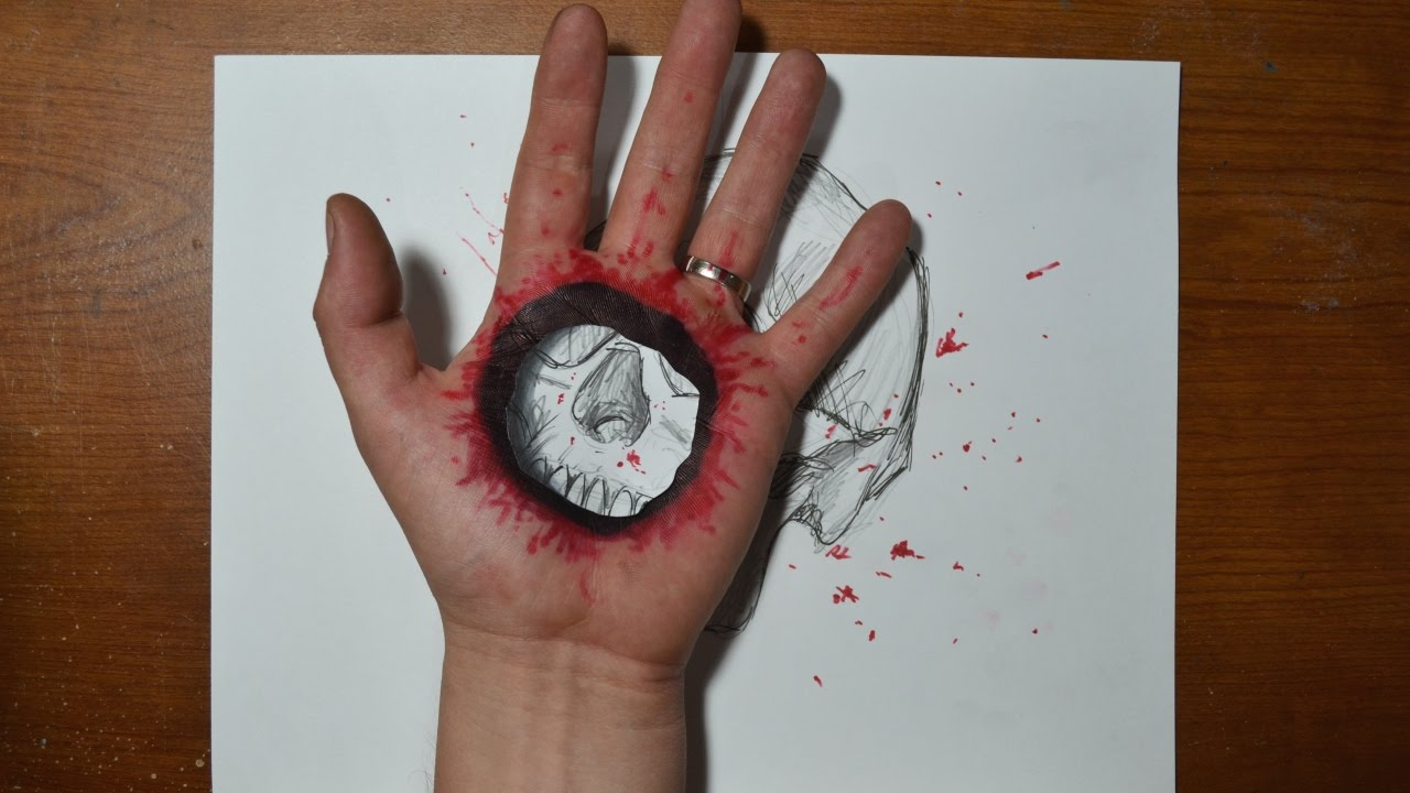 Papercraft Cool 3D Trick Art - Bullet Hole in Hand