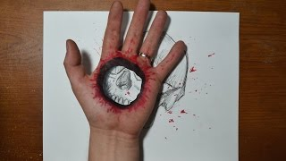 Cool 3D Trick Art - Bullet Hole in Hand(How to draw a bullet hole in hand. Cool 3D trick art optical illusion Thank you for watching and Subscribe! You can follow me on facebook, instagram and ..., 2014-10-03T04:38:45.000Z)