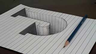 Draw letter J in a hole 3d trick art