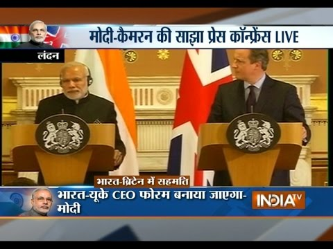 PM Modi and David Cameron Address at Joint Press Conference in London, UK