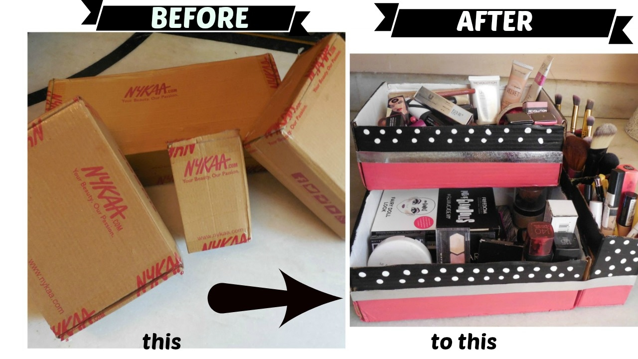 diy cute makeup organizer holder from nykaa boxes organize. Black Bedroom Furniture Sets. Home Design Ideas