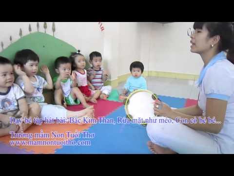 Cô giáo dễ thương dạy bé tập hát bài: Bắc kim thang, Chú mèo rữa mặt, con cò bé bé...