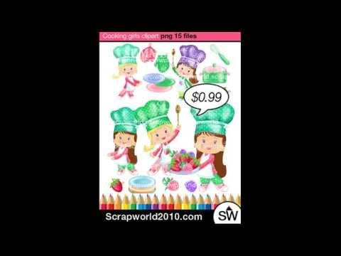 Cooking Girl Clipart Kitchen Vector Stock Clip Art