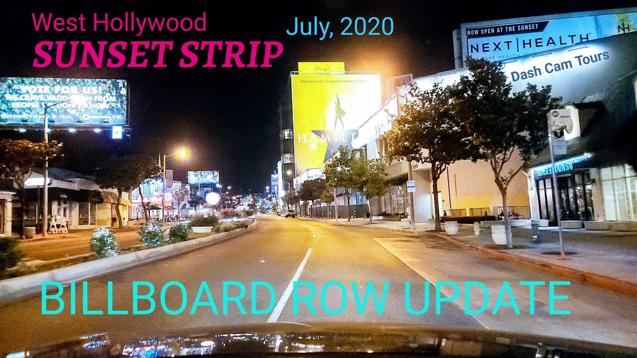 Sunset Strip Monthly Billboard Row Update || July 8, 2020 || 4K || Dash Cam Tours 🚘