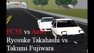 FC vs Ae86 (Ryosuke Takahashi vs Takumi Fujiwara) | Roblox Initial D Remake #8