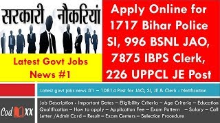 Latest govt jobs news #1 | Apply for 10814 post of SI, JAO, JE and Clerks