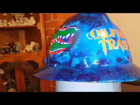 Florida custom hard hat painted by ZimmerDesignZ com