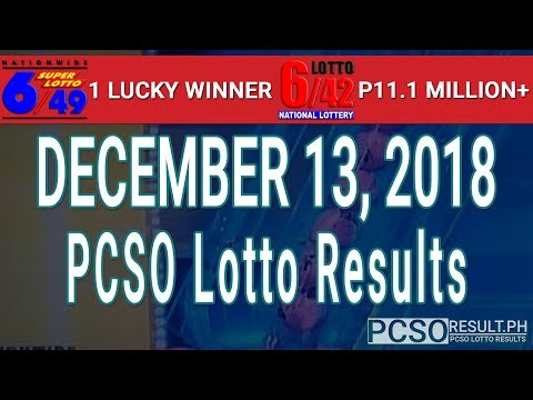 PCSO Lotto Results Today December 13, 2018 (6/49, 6/42, 6D, Swertres, STL & EZ2)