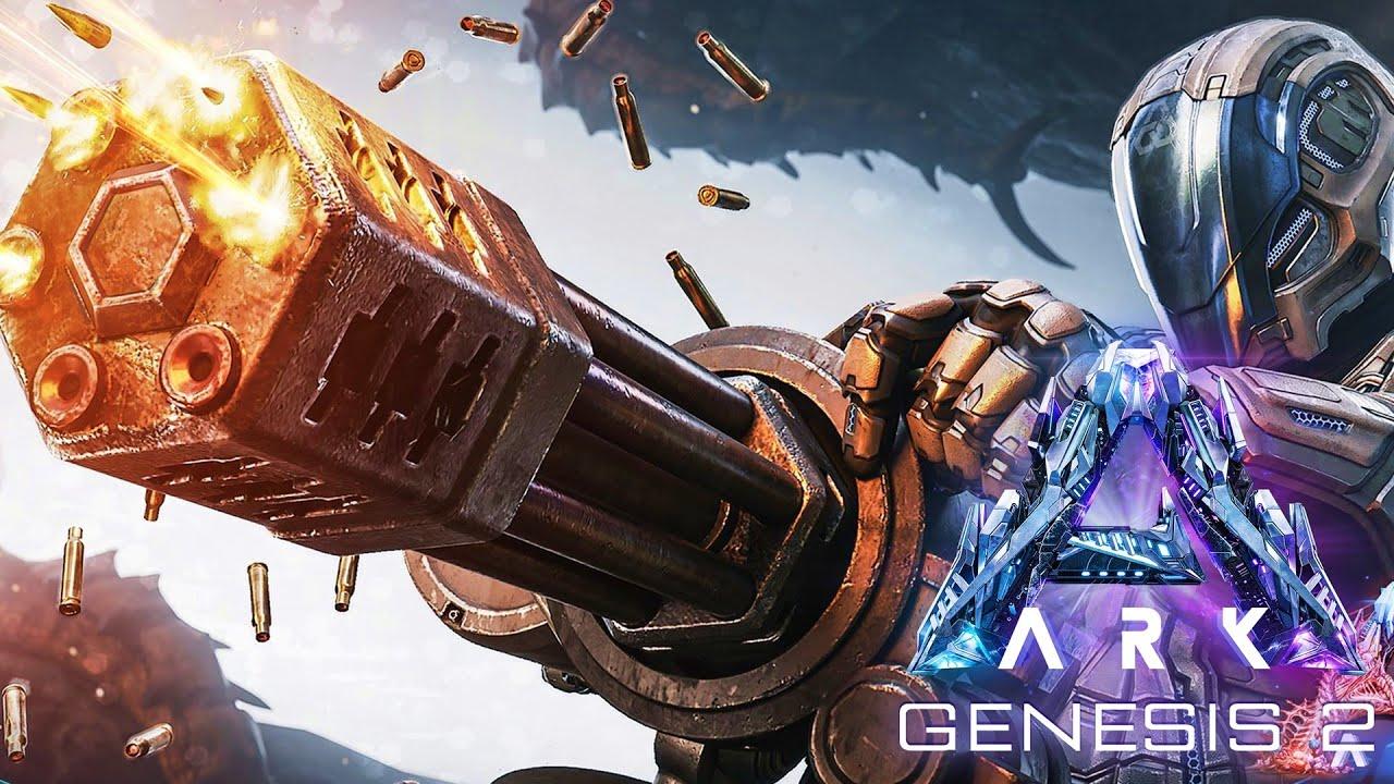 [4] SURVIVE THE ARK! Miniguns Are AMAZING! (ARK Genesis Part 2 Multiplayer)