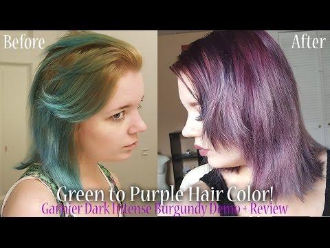 Green To Purple Hair Garnier Dark Intense Burgundy Demo