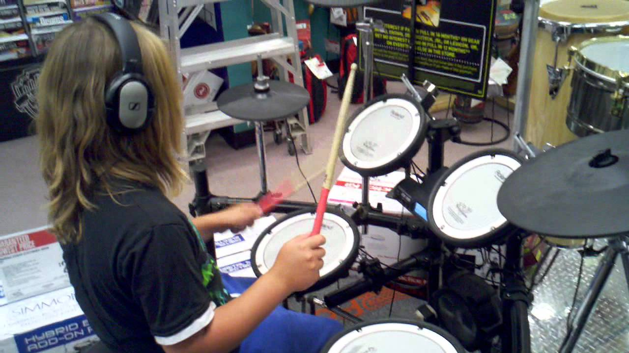 Electronic Drum Kit Testing By My 10 Year Old Kid Youtube