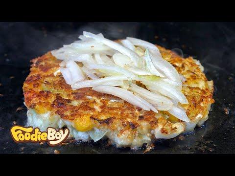 Okonomiyaki / Korean Street Food / Bupyeong-Dong, Busan Korea