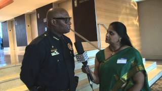Dallas city chief of police Mr.Brownspeaking to Desiplaza TV at USIACOC Awards Banquet 2014.