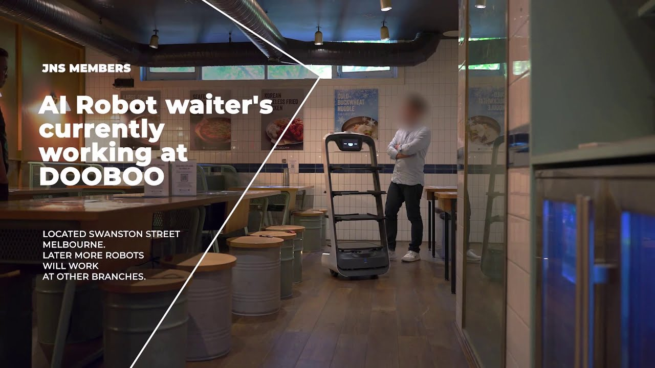 Robot waiter at Korean restaurant in Melbourne CBD Australia