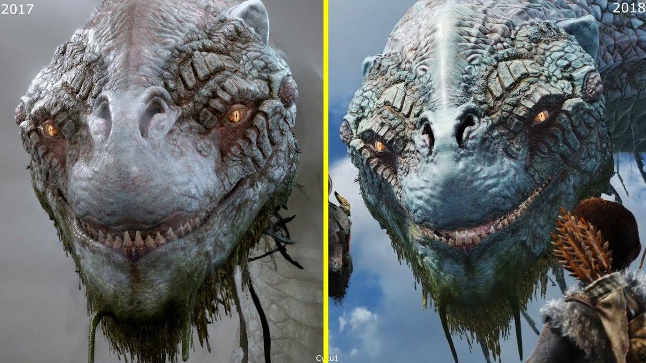 God of war 2016 vs 2017 vs 2018 trailer early graphics - God of war jormungandr ...