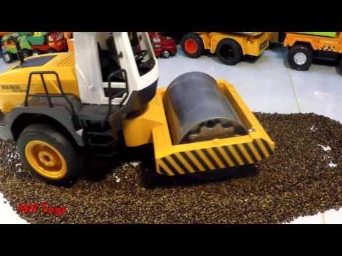 Mở hộp đồ chơi ô tô điều khiển xe lu cát hạt muồng Road Roller heavy industry Remote Control Toy