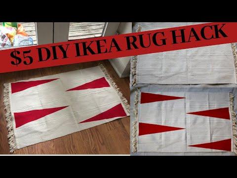 $5 DIY PAINTED RUG | IKEA Hack | maykitdiy