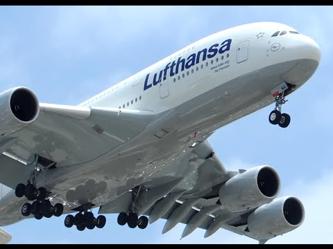 lufthansa airbus a380 800 d aimn landing in lax youtube. Black Bedroom Furniture Sets. Home Design Ideas