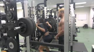 Girl 125 pounds squats 245 pounds