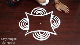 Easy & Simple rangoli designs    Creative kolam Arts by Suneetha    Beautiful muggulu with 3 dots