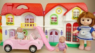 Baby doll red roof house and car toys play