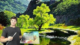 Река в горах ► как рисовать маслом отражение, воду, горы, деревья