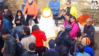 Making  Amazing Snow Shivling on the Mall Road SHIMLA