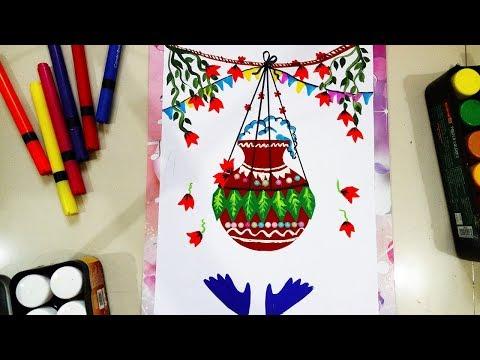 Janmashtami dahi handi drawing   DIY Janmashtami chart for school   Matki decoration craft