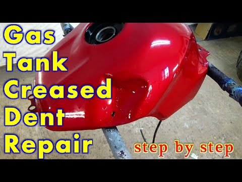 Motorcycle Gas Tank Dent Repair With Fiberglass / Creased Dent Repair