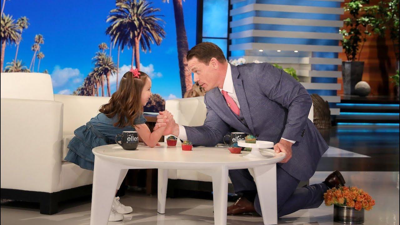 WWE Star John Cena Arm Wrestles Kid Genius Brielle