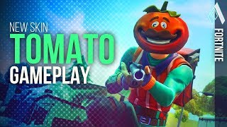 "Fortnite *NEW* ""Tomatohead"" Skin + New Pickaxe and Glider GAMEPLAY! 