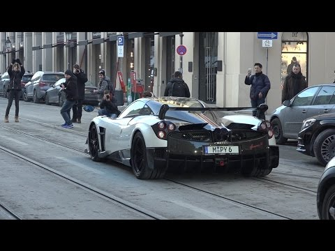 Pagani Huayra BC Driving in Munich – Start Up & Accelerations