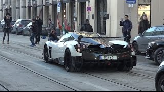 Pagani Huayra BC Driving in Munich - Start Up & Accelerations
