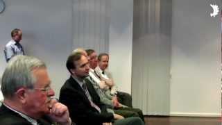 Begrüßung von Prof. Dr. Manfred Kittel durch Dr. W. Halder und H.-G. Parplies (BdV) im GHH