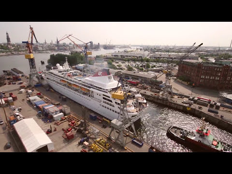 Cruise Ship timelapse - Extension of Braemar at Blohm+Voss