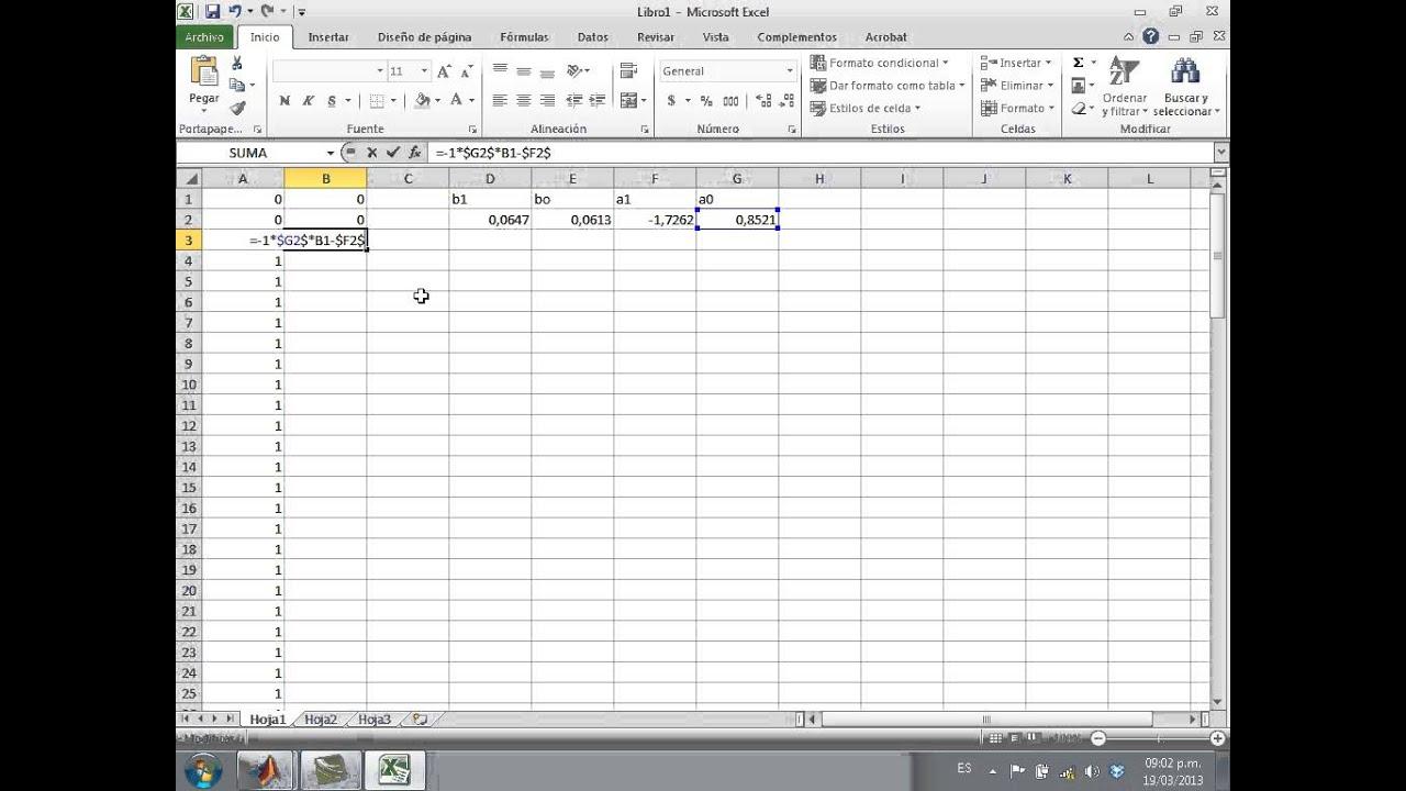 Ejercicio de Programación de ecuaciones en diferencias en Matlab y Excel