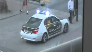 Dubai Police BMW 5series on scene of a 2 car MVA