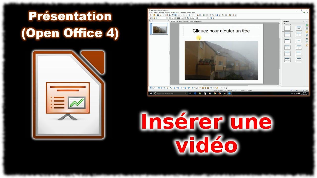 tuto impress 4 - ins u00e9rer une vid u00e9o  open office