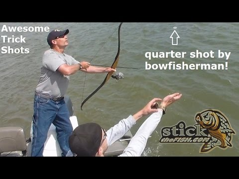 Best Bow Trick Shot EVER! Bowfishing arrow hits Quarter in the water Archery Trick shot