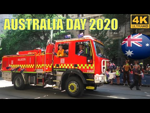 AUSTRALIA DAY 2020 PARADE MELBOURNE CITY  4K