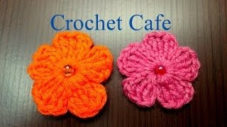 Crochet Cafe كروشيه وردة بسيطة بلون واحد | كروشيه كافيه