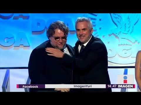 Guillermo del Toro le entrega premio a su amigo Alfonso Cuarón   Noticias con Yuriria Sierra