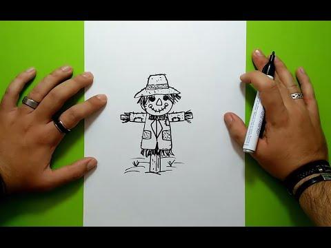 Como dibujar un espantapajaros paso a paso 2 | How to draw a scarecrow 2