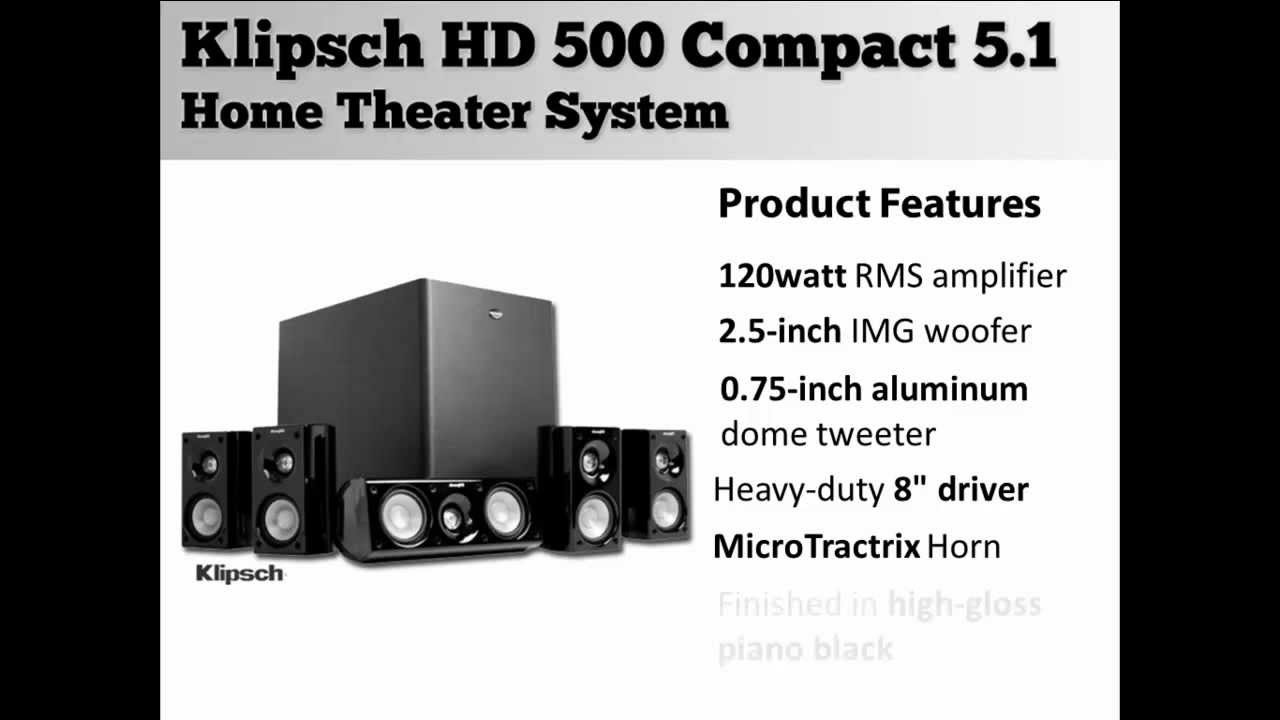 klipsch hd 500 compact 5 1 home theater system youtube. Black Bedroom Furniture Sets. Home Design Ideas