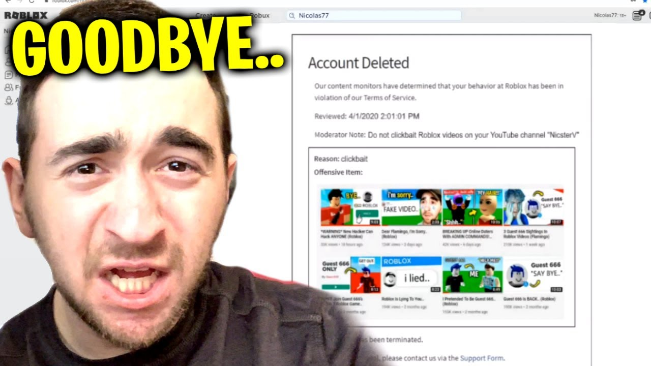 Roblox Banned Me For Clickbaiting Goodbye Youtube