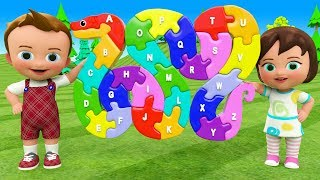 Little Baby Fun Play Learning Alphabets Songs Snake Colors ABC Puzzle Wooden Toy Set 3D Kids