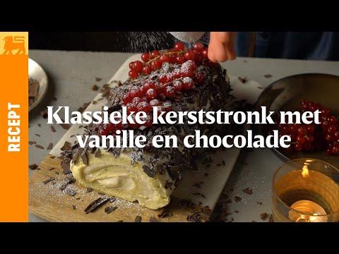 Kerststronk met vanille en chocolade