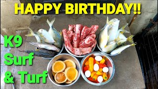 Happy Birthday!!  Dog Pack Surf & Turf Feeding  RAW Food Birthday Party!!