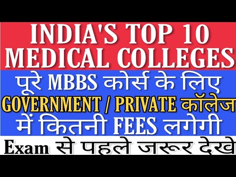 India's Top 10 Medical Colleges - 2019 | Complete Fees for  Government/Private MBBS course